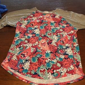 Lularoe pink and teal floral Randy